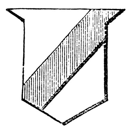 Bend Sinister is the reverse of the bend, vintage line drawing or engraving illustration.