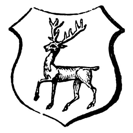 Stag Tripping are the motion of deer, vintage line drawing or engraving illustration. Illustration
