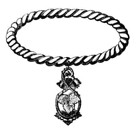 Bracelet is designed with a vine leaf pendant that hangs down, vintage line drawing or engraving illustration. Ilustrace