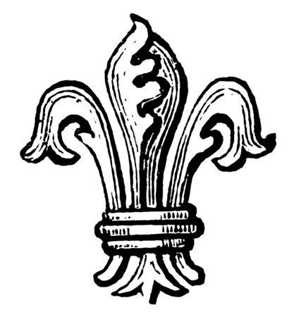 Fleur-De-Lis Difference are not only distinguish the sons of one family, vintage line drawing or engraving illustration.