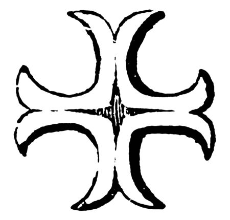Cross Moline are not only distinguish the sons of one family, vintage line drawing or engraving illustration.