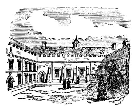 Quadrangle always enclosed on four sides by buildings it is entirely or mainly occupied by parts of a large building which is covered arcades or cloisters vintage line drawing or engraving illustration. Vectores