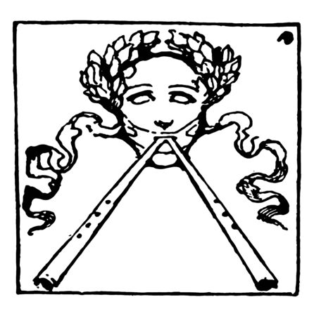 Face with Two Flutes and a crown of olive leaves in this picture, vintage line drawing or engraving illustration.