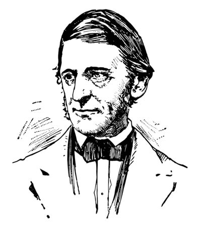 Ralph Waldo Emerson 1803 to 1882 he was an American essayist lecturer and poet who led the transcendentalist movement of the mid to 19th century vintage line drawing or engraving illustration