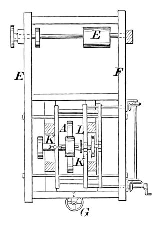 This illustration represents Molding Tool Hat where machine was used to mold different hat bodies vintage line drawing or engraving illustration.