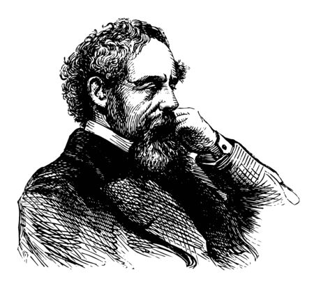 Charles Dickens, 1812-1870, he was an English writer and social critic, one of the most popular English novelists of the Victorian era as well as a vigorous social campaigner, vintage line drawing or engraving illustration Ilustração