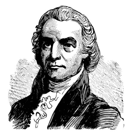 Oliver Ellsworth 1745 to 1807 he was an American lawyer judge politician diplomat drafter of the United States constitution U.S. senator from Connecticut and chief justice of the United States vintage line drawing or engraving illustration