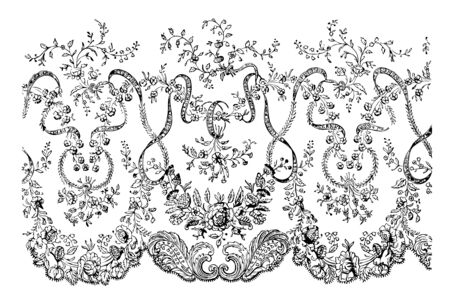 Lace Veil, This is a portion of the border, It is delicately designed with flowers, vintage line drawing or engraving illustration.