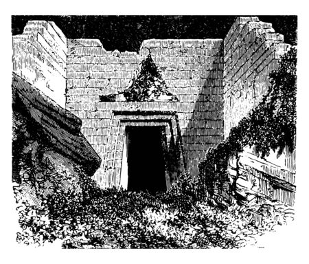 Tomb of Atreus the Treasury of Atreus tomb located in Mycenae The face of the tomb consists a triangle above the doorway a semi to underground circular room vintage line drawing or engraving illustration. Illustration
