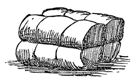 This illustration represents Bale which is a bundle of paper hay cotton and tightly wrapped and bound with cords or hoops vintage line drawing or engraving illustration.