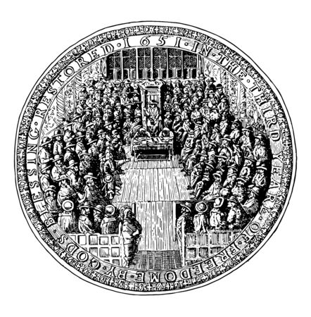 Great Seal of England Under the Commonwealth this seal shows crowd of peaople sitting to discuss something and head of that crowd sitting in the middle it looks like a royal court vintage line drawing  イラスト・ベクター素材