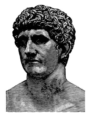 Bust of Mark Antony,  a Roman politician and General, an important supporter, the best friend of Gaius Julius Caesar, historians today as the Second Triumvirate, vintage line drawing or engraving illustration.