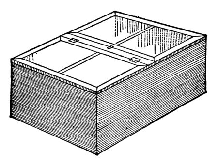 This illustration represents Propagating Box which is used to store plant cuttings vintage line drawing or engraving illustration.