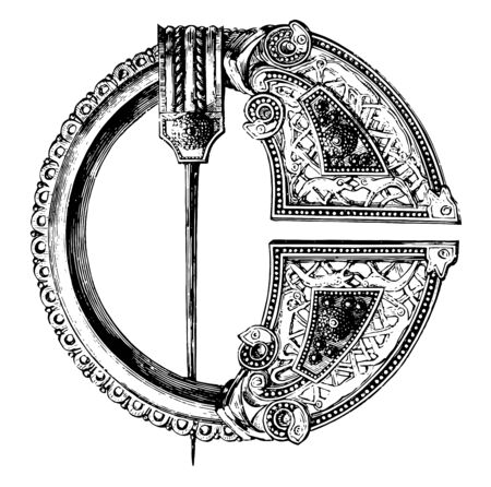 Royal Tara Brooch is made out of bronze with niello, vintage line drawing or engraving illustration.  イラスト・ベクター素材