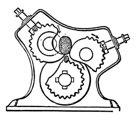 This illustration represents Revolving Squeezer vintage line drawing or engraving illustration. Stock Illustratie