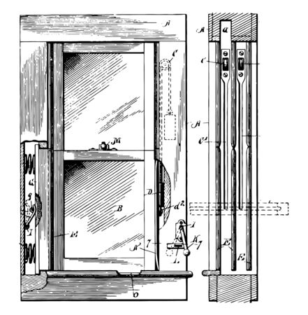 Casement Window is hinged sash that swings and open outward to the left or right which provide top to to to bottom outward like a door vintage line drawing or engraving illustration.