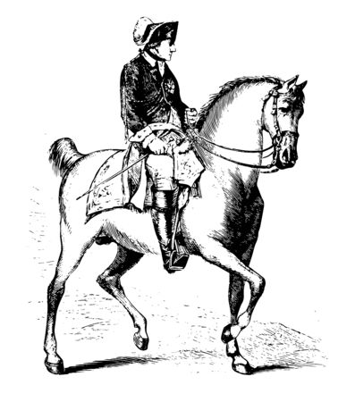 Frederick II of Prussia on Horseback, 1712-1786, he was the king of Prussia from 1740 to 1786, vintage line drawing or engraving illustration