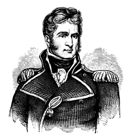 Thomas Macdonough 1783 to 1825 he was nineteenth to century American naval officer famous for his roles in the first Barbary War and the War of 1812 vintage line drawing or engraving illustration