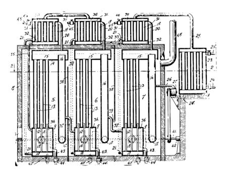 This illustration represents Air Compressor which is a mechanical device that compresses gasses vintage line drawing or engraving illustration. Illustration