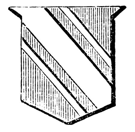 Shield Showing Cotice is one third less than the garter and the bendlet, vintage line drawing or engraving illustration. Ilustrace