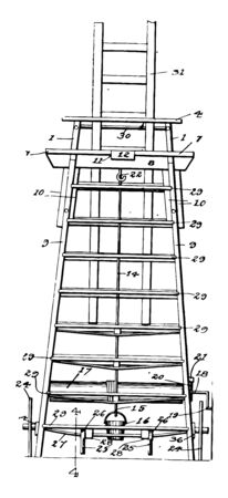 This illustration represents Tall Ladder which connected by several parallel rungs vintage line drawing or engraving illustration.