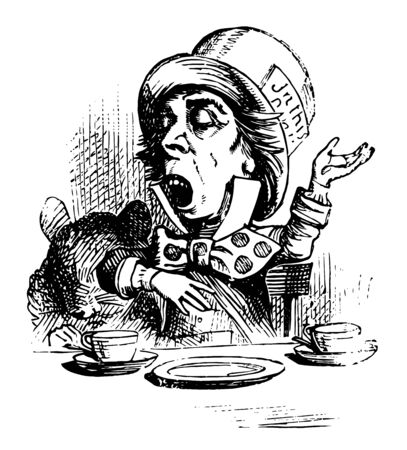 Alice in Wonderland this scene shows a seated man and table in front of him two cups and plate kept on table he is feeling sleepy vintage line drawing or engraving illustration