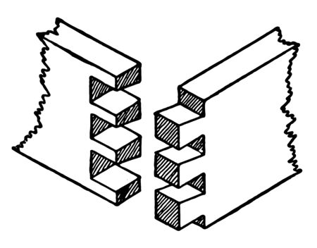 This illustration represents Common Dovetail Joint which is the most efficient for joining two boards that meet at a right angle, vintage line drawing or engraving illustration.