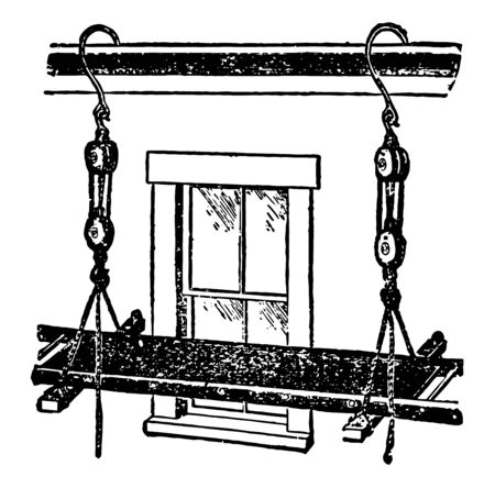 This illustration represents Swing Scaffold which is used by workers to sit or stand when performing tasks at heights vintage line drawing or engraving illustration.