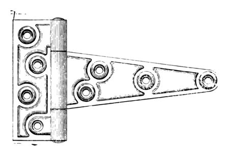 Door Style Hinge that connects two solid objects only a limited angle of rotation pivot style vintage line drawing or engraving illustration. Illustration