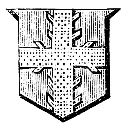 Cross Raguly shows a circular void, vintage line drawing or engraving illustration.