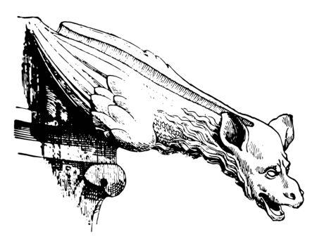Gargouille gothique, cathédrale du XIIIe siècle, La Sainte-Chapelle, Paris, France, architecture gothique, eau, dessin au trait vintage ou illustration de gravure.