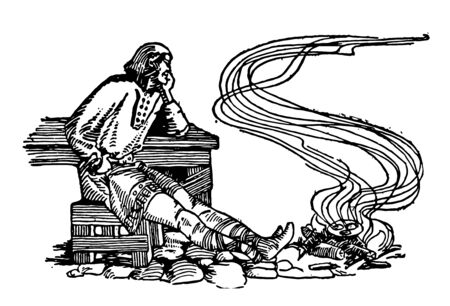 Alfred the Great letting the cakes burn because he was preoccupied with thoughts of his kingdom vintage line drawing or engraving illustration.