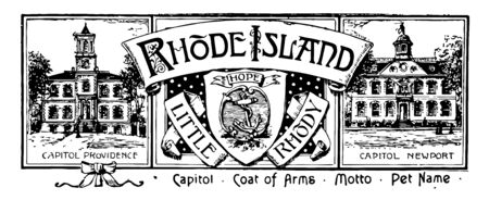 The state banner of Rhode Island this banner has state house in right and left side and in middle a shield shape inside that an anchor and on top of it state motto on ribbon HOPE vintage line drawing or engraving illustration 向量圖像