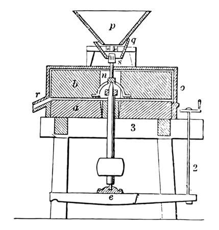 Diese Abbildung stellt eine Schleifmühle dar, bei der es sich um eine Einheit handelt, die ein festes Material in kleinere Stücke, eine Vintage-Linienzeichnung oder eine Gravierillustration zerlegt.
