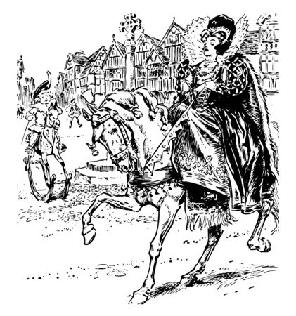Ride a Horse to Banbury Cross this scene shows queen riding horse and going somewhere one horse rider and house in background vintage line drawing or engraving illustration
