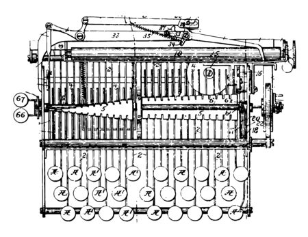 This illustration represents a typewriter is a mechanical device which to be printed on a medium usually paper vintage line drawing or engraving illustration.