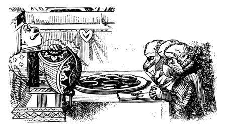 A man and three birds and table in between them, food plate is placed on table, birds looking down, vintage line drawing or engraving illustration Çizim
