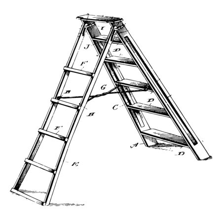 This illustration represents Six Step Ladder which is hung from the top vintage line drawing or engraving illustration. 向量圖像