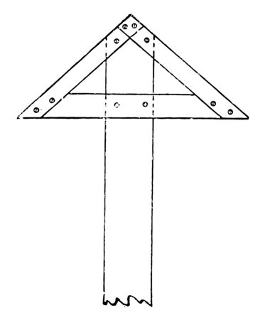 Fixed Triangular Head T Square is a long contact surface with the edge of the board it is the two moveable arms coupled to the housing and arranged to engage an edge vintage line drawing or engraving illustration.