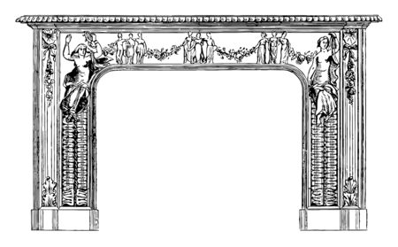 Fireplace Frame is designed with figures, it is contained in a firebox, vintage line drawing or engraving illustration. Illustration