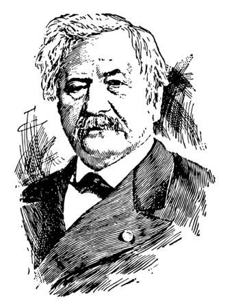 Ferdinand de Lesseps 1805 to 1894 he was a French diplomat and later developer of the Suez Canal vintage line drawing or engraving illustration