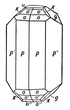 This diagram represents Orthorhombic Crystal of Topaz, vintage line drawing or engraving illustration.