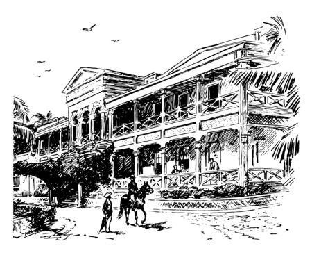 A hospital was shown in this picture which is located in the Honolulu city in early 1990s vintage line drawing or engraving illustration.
