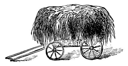 This illustration represents a wagon which is covered with hay, vintage line drawing or engraving illustration. Illustration