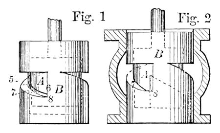This illustration represents Steam Valve which are able to cut off steam at any given revolution inside an engine vintage line drawing or engraving illustration.
