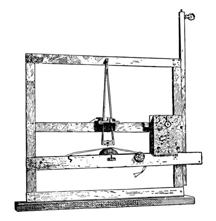 This illustration represents Morse First Telegraph Instrument which used electricity to send and receive messages vintage line drawing or engraving illustration.