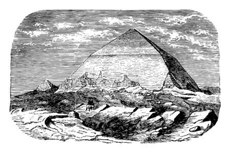 Pyramid of Dashur ancient dashur Egypt Egyptian vintage line drawing or engraving illustration.