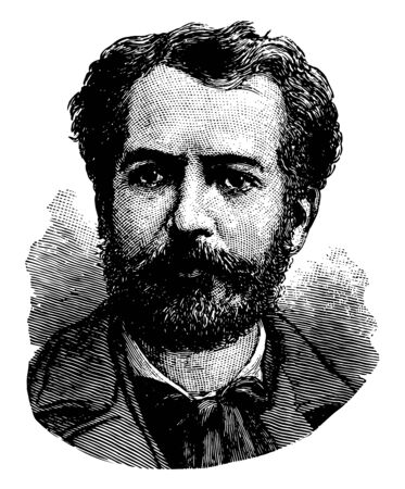 Frédéric Auguste Bartholdi 1834 to 1904 he was a French sculptor famous for designing Statue of Liberty vintage line drawing or engraving illustration Stock Illustratie