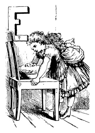 Alphabet E eat it this picture shows a girl bend down to pick something from bowl to eat bowl kept on table vintage line drawing or engraving illustration