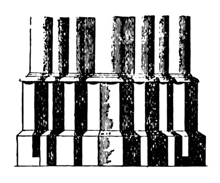 Base Early type gothic column Halberstadt Rouen France Roman Base vintage line drawing or engraving illustration.